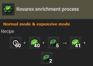Screenshot of Kovarex enrichment recipe from Factorio wiki