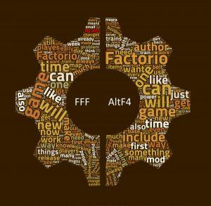 Split gear shaped word cloud